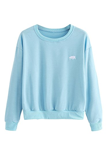(SweatyRocks Womens Casual Long Sleeve Pullover Sweatshirt Alien Patch Shirt Tops (Medium, Blue_Bear))