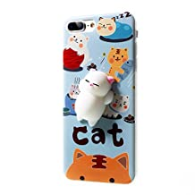 Squishy Cat Case iPhone 7 Plus, 3D Cute Soft Silicone Poke Squishy Cat Phone Back Cover for iPhone 7 Plus
