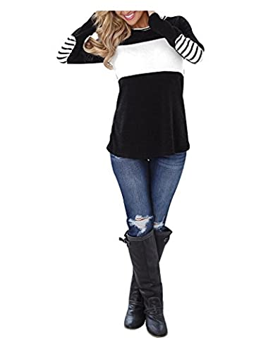 Blooming Jelly Women's Long Sleeve Round Neck Elbow Patched Color Block Stripe Shirt Tops(L) - Casual Stripe Pattern Shirts