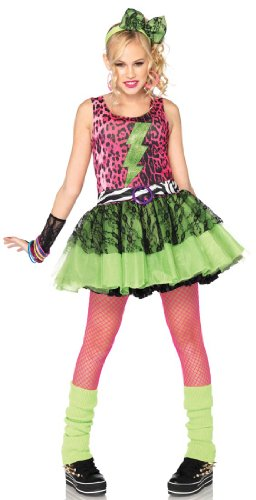 Leg Avenue Costumes 3Pc.Totally 80S Amy Animal Print Dress Lace Arm Piece Headpiece Juniors, Pink/Black, (Fancy Dress 80s Style)