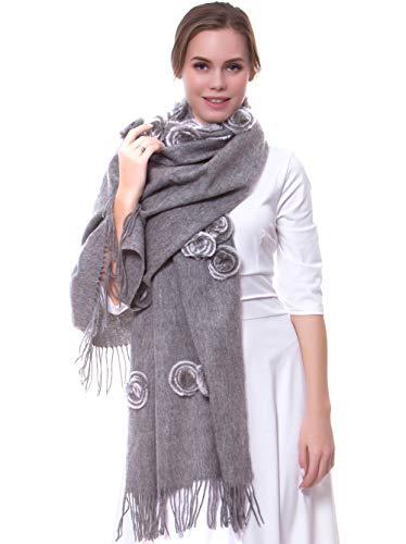 MORCOE Women's Exotic Design 100% Wool Rabbit Fur Roses Soft Scarf Warm Wrap Evening Party Pashmina Shawl Gift (Grey)