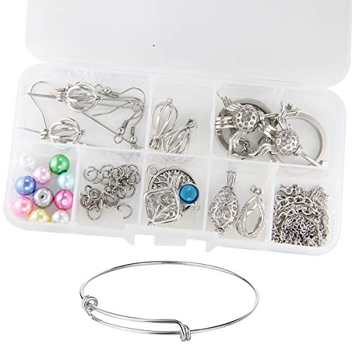 Pearl Cages Pendant Jewelry Making Kit -Aromatherapy Charms for DIY Bracelet Necklace Earrings & Key Chain Amazing Gift for Teen Girls