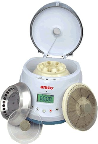 UNICO C885 Power Spin Bx Centrifuge, 1000-13000 RPM Variable Speed, 0-99 Minutes Digital Timer, 6 Place Tube Rotor, 24 Place Micro hematocrit Rotor, 24 Place Micro centrifuge Rotor, 110V
