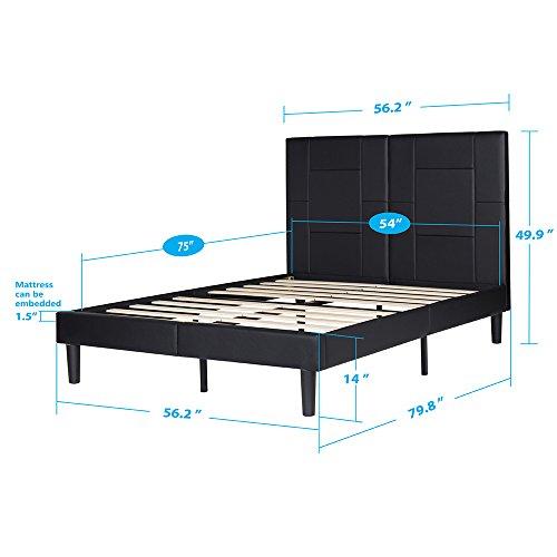 Olee sleep Faux Leather Wood Slat Bed Frame with headboard Bed Frame Foundation 14PB06F Black (Full)