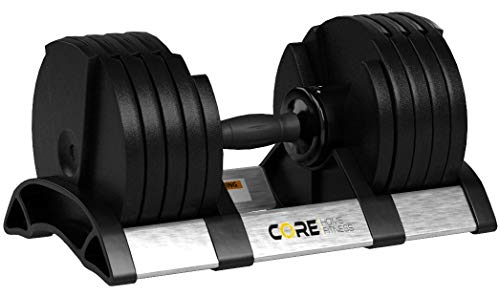 Core Fitness Adjustable Dumbbell Weight Set by Affordable Dumbbells - Adjustable Weights - Space Saver - Weights - Dumbbells for Your Home -