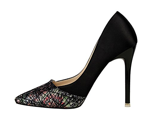 No.66 Town Women's Fashion Stiletto High Heel Pointed-Toe Party Pump Court Shoes Shoes Black