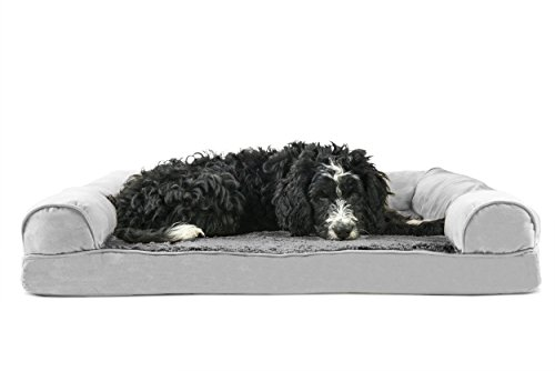 FurHaven Pet Dog Bed | Orthopedic Ultra Plush Sofa-Style Couch Pet Bed for Dogs & Cats, Gray, Large by Furhaven Pet