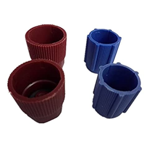 Sugeryy Car Air Conditioning High and Low Valve Service Caps, R134a,13mm 16mm, 2 high-pressure brown 2 low-pressure blue - Air Conditioning Service Valves