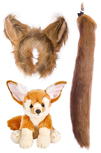 Wildlife Tree Stuffed Plush Fennec Fox Ears Headband and Tail Set with Baby Plush Toy Fennec Fox Bundle for Pretend Play Animals -