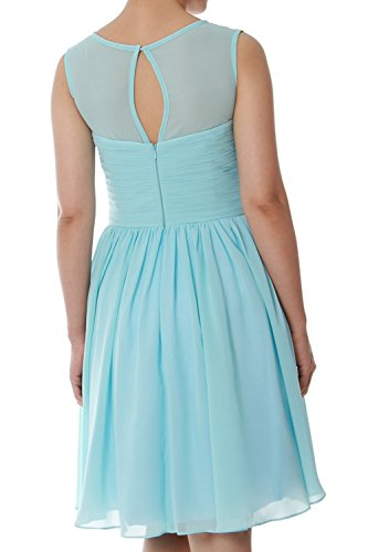 MACloth Party Bridesmaid Chiffon Wedding Formal Gown Elegant Lavendel Neck Dress O Short AqCAxr8w