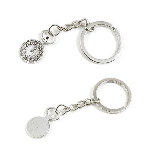 100 PCS Pocket Watch Clock Keychain Keyring Jewelry Making Charms Door Car Key Tag Chain Ring L7YF0V
