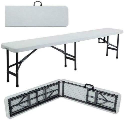 LYKOS 6 Portable Plastic Indoor Outdoor Picnic Party Camping Dining Folding Bench Off-White