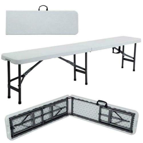 6′ Portable Plastic Indoor Outdoor Picnic Party Camping Dining Folding Bench Off-White