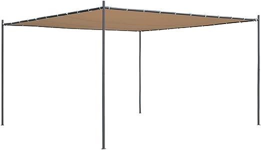 vidaXL Cenador con Tejado Plano de Jardín 4x4x2,4 m Beige Carpa ...