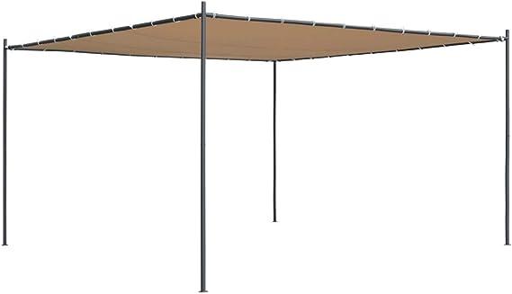 vidaxl-cenador-con-tejado-plano-4x4x24-m-beige: Amazon.es: Jardín