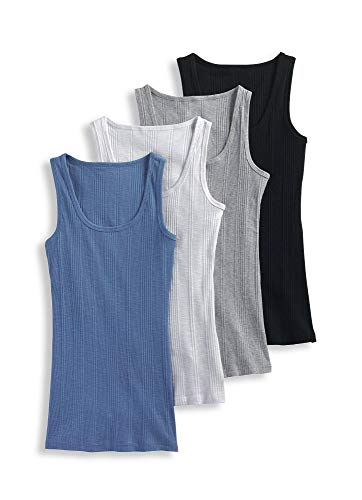 (Jockey Women's Tops Ribbed Tank 4-Pack, Assorted, XL)