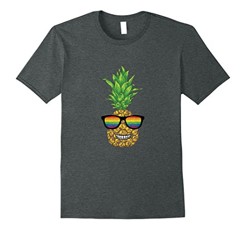 Mens Gay Pride Pineapple With Rainbow Sunglasses T-shirt Small Dark - Sunglasses Gay