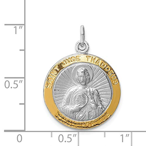 - Sterling Silver Engravable Polished Vermeil Saint Jude Thaddeus Medal
