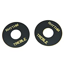 Dopro 2pcs Black with Gold Letter LP Guitar Toggle Switch Washer Plate Rhythm Treble Ring for Les Paul