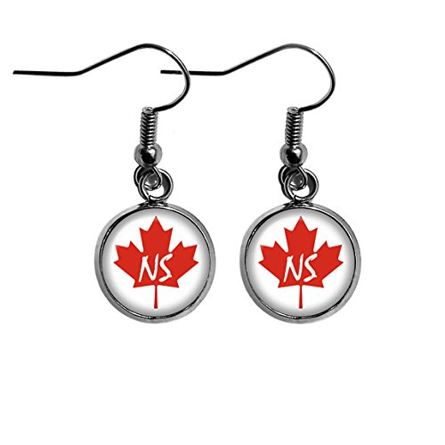 Canada Canadian Flag Province Nova Scotia NS Surgical Steel Earrings