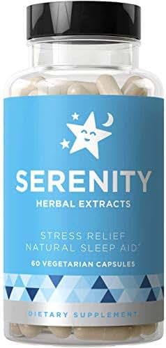 SERENITY Natural Sleep Aid & Dream Supplement – Drift Off Mind & Body, Fall Asleep Faster Without Being Groggy – Non-Habit Sleeping Pills – Magnesium, Valerian, Melatonin – 60 Vegetarian Soft Capsules
