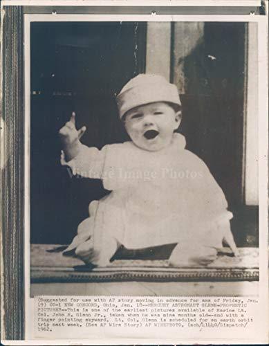 1962 Vintage Picture - Vintage Photos 1962 NASA Photo John Glenn Space Astronaut Child Concord OH Prophetic Hat 6x8