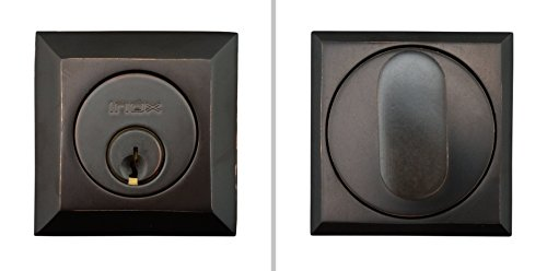 INOX SD310B6-10B Square Single-Cylinder Deadbolt with 2-3/8 Inch Backset, Oil Rubbed Bronze