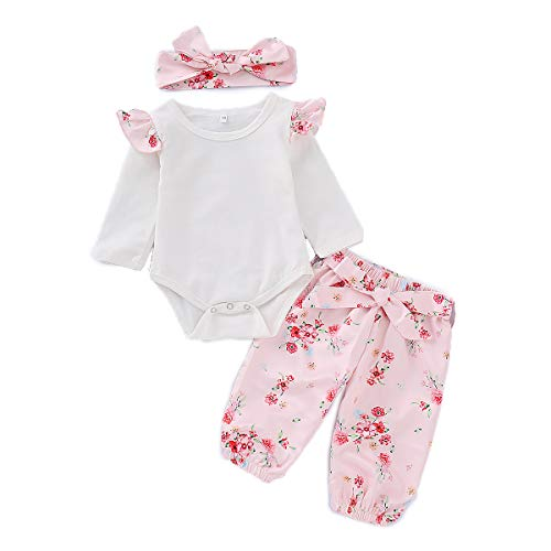PatPat Baby Girl Outfit Sweet Long Sleeve Bodysuit Jumpsuit, Floral Printed Pants and Headband Set (12-18 Months, Pink) from Yaffi