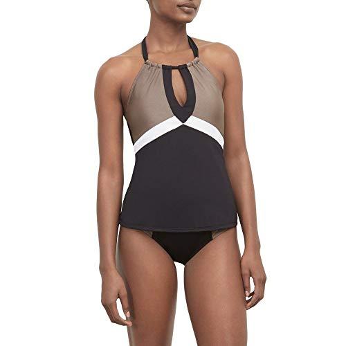 Kenneth Cole New York Women's High Neck Keyhole Halter Tankini Swimsuit Top, Black//Across The Atlantic, ()
