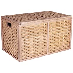 """Household Essentials ML-5675 Extra Large Wicker Storage Box with Lid - 15.75""""H x 27.2""""W x 16.9""""D"""