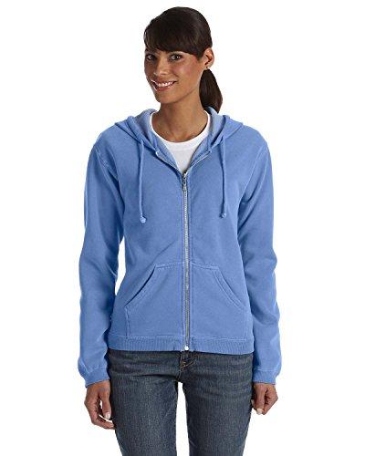 Full Flo Hood - Comfort Colors Womens 10 Oz. Garment-Dyed Full-Zip Hood (C1598)- Flo Blue,Large