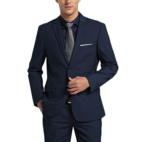 WEEN CHARM Men's Suits One Button Slim Fit 2-Piece Suit Blazer Jacket Pants Set Navy Blue ()