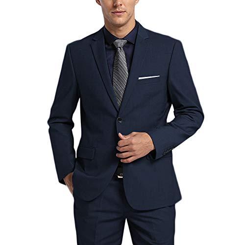 (WEEN CHARM Men's Suits One Button Slim Fit 2-Piece Suit Blazer Jacket Pants Set Navy Blue )
