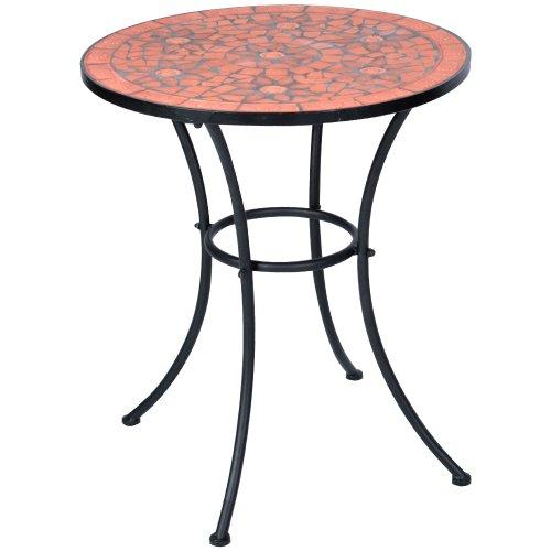 Hochwertiger & Stabiler Mosaik Beistelltisch Gartentisch in terracotta Ø 60cm