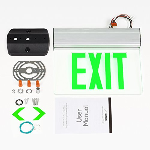 LEONLITE LED Edge Lit Green Exit Sign Single Face with Battery Backup, UL Listed, AC120V/277V, Ceiling/Left End/Back Mount Emergency Light for Hotel, Restaurant, Hospitals, Pack of 6 by LEONLITE (Image #6)