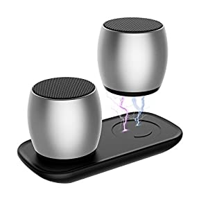 Bluetooth Speakers, True Wireless Speaker with Built-in-Mic, Tiamat Thunder Beats Stereo Speakers Set with HD Sound and Bass for iPhone iPad Android Smartphone and More - Sliver