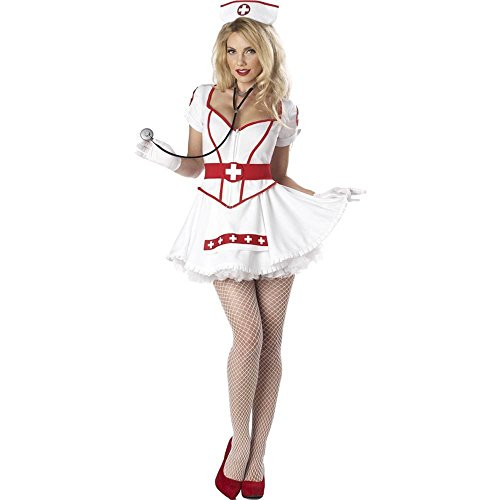 Sexy Hot Costumes (California Costumes Nurse Heart Breaker Set, White, Small)