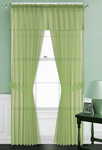 GorgeousHomeLinen 5 Piece Sheer Set 2 Voile Sheer Panels 1 Scarf Valance & 2 Tiebacks Window Curtain Set, 55