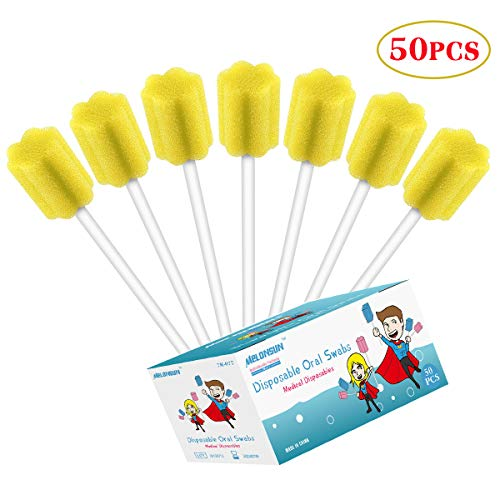 50PCS Disposable Oral Care Swabs, Individually Wrapped MELONSUN Dental Sponge Swabsticks Unflavored Sterile for Mouth Cleaning (people and pets) (plum, yellow)