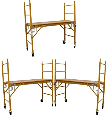 3 Set of 6 feet Multi Purpose Scaffold Rolling Tower Baker-Style Scaffold with U Lock
