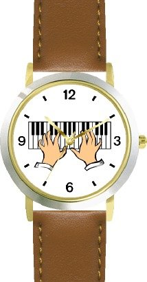 Pianist Hands Playing Piano Classical Musician 2 - WATCHBUDDY DELUXE TWO-TONE THEME WATCH - Arabic Numbers - Brown Leather Strap-Size-Women's Size-Small