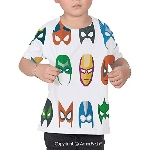 Superhero Original Printed Short Sleeve Shirt Size XS-2XL Big,Hero Mask Female M ()