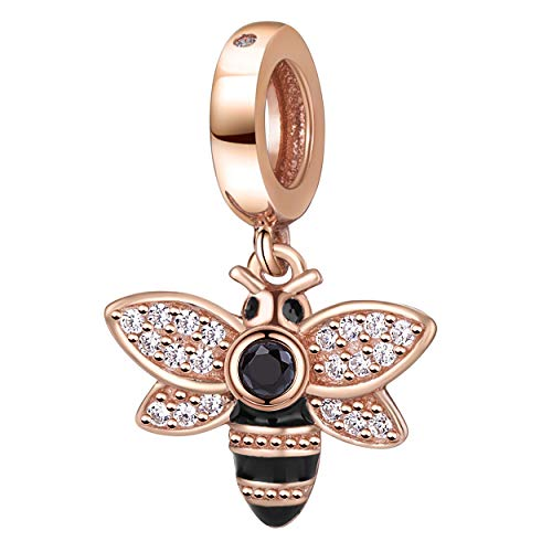 - Rose Gold Bee Crystal Charms Pendant Solid 925 Sterling Silver Queen Bee Dangling Bead