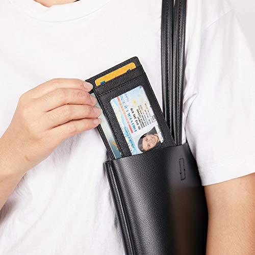 Small Genuine Leather RFID Blocking Minimalist Wallet Credit ID Card Holder Travel Slim Pocket Wallet Money Clip Men Women, Black by Linscra (Image #4)
