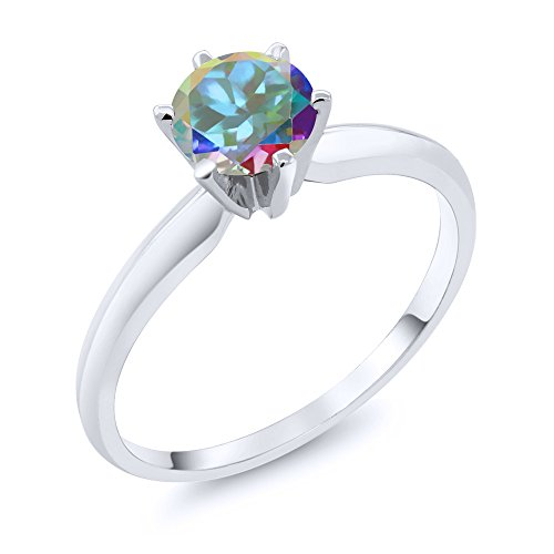 1.00 Ct Mercury Mist Mystic Topaz 14K White Gold Engagement Solitaire Ring (Available in size 5, 6, 7, 8, 9)