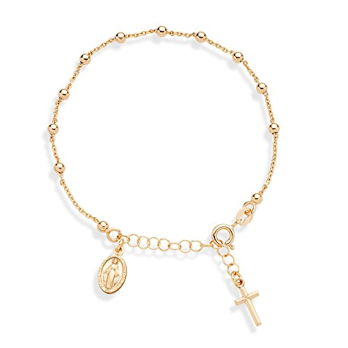 10k 14k Charm Bracelet - MiaBella 18K Gold Over 925 Sterling Silver Italian Rosary Cross Bead Charm Link Chain Bracelet, Adjustable 6