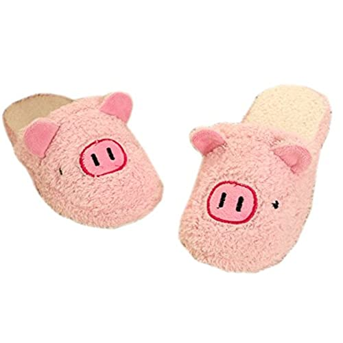 Cartoon Pink Pig Animal Slippers Soft Plush Indoor Shoes