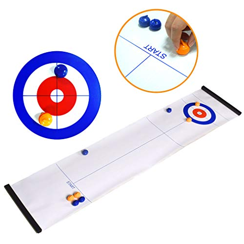 Find Bargain Tabletop Curling Game and Family Fun Board Games Shuffleboard Pucks with 8 Rolllers Gif...