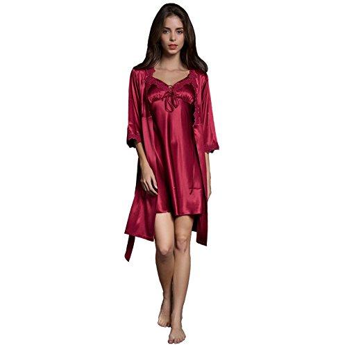 SUNBABY Women Sexy Silk Satin Robe Camisole Pajama Dress Two Piece Suit Sleepwear (M, Burgundy) (Silk Satin Tie Dress)