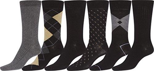 (Sakkas 152 Mens Cotton Blend Ribbed Dress Socks Value 6-Pack - 10-13)